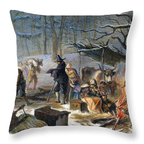 1620 Throw Pillow featuring the photograph Pilgrims: First Winter, 1620 by Granger