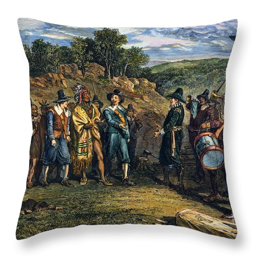 17th Century Throw Pillow featuring the photograph Pilgrims: Massasoit by Granger