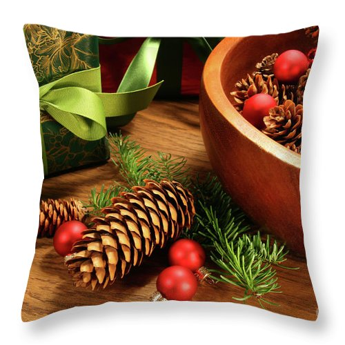 Background Throw Pillow featuring the photograph Pine Cones And Christmas Balls by Sandra Cunningham