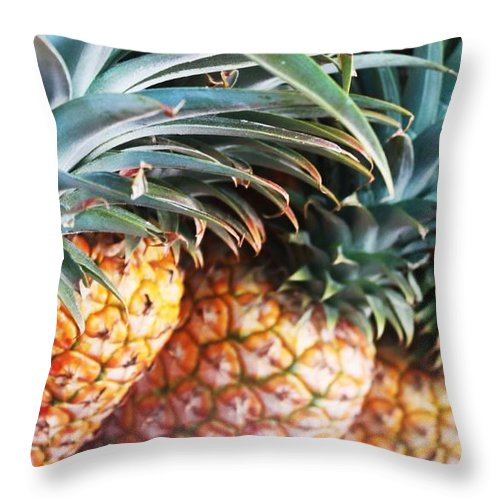 Pineapples Throw Pillow featuring the photograph Pineapples Anyone by Caroline Lomeli
