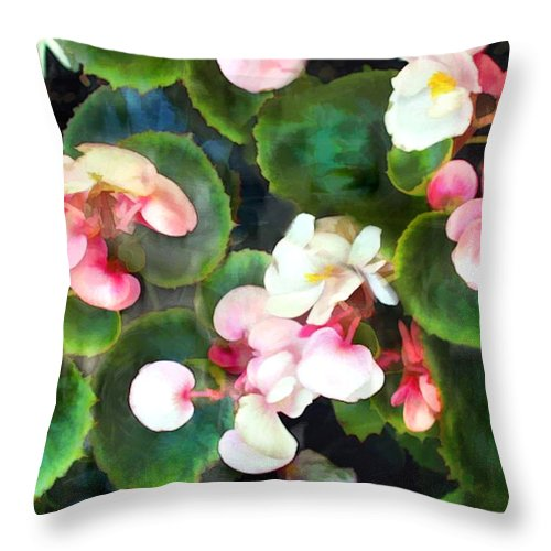 Flower Flowers Garden Begonia Begonias Wax+begonias Pink Flora Floral Nature Natural Throw Pillow featuring the painting Pink Begonias by Elaine Plesser