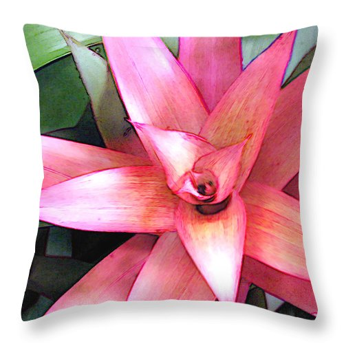 Flower Flowers Garden Bromeliads Bromeliad Succulent Flora Floral Nature Natural Throw Pillow featuring the painting Pink Bromeliad by Elaine Plesser