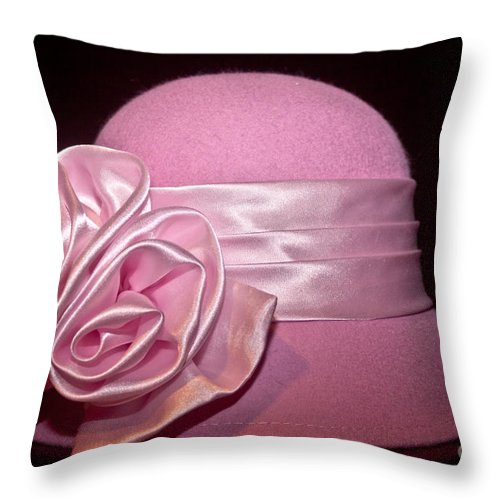 Hats Throw Pillow featuring the photograph Pink Cloche Hat by Jill Smith