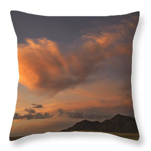 Namib Throw Pillow featuring the photograph Pink Cloud by Fran Gallogly