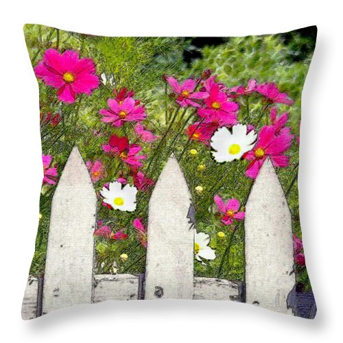 Throw Pillow featuring the painting Pink Cosmos Flowers And White Picket Fence by Elaine Plesser