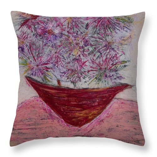 Pink Throw Pillow featuring the painting Pink Explosion by Edmund Akers