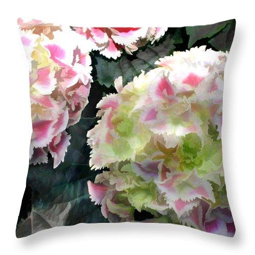 Flower Flowers Garden Hydrangea Hydrangeas Pink Flora Floral Nature Natural Throw Pillow featuring the painting Pink Hydrangeas by Elaine Plesser