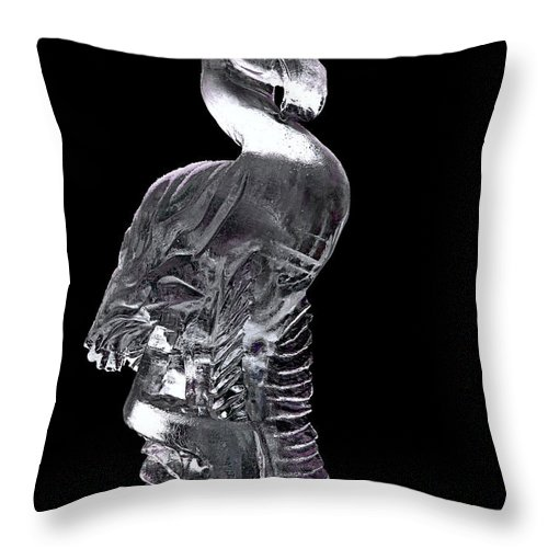 Usa Throw Pillow featuring the photograph Pink Ice Flamingo Ice Carving by LeeAnn McLaneGoetz McLaneGoetzStudioLLCcom