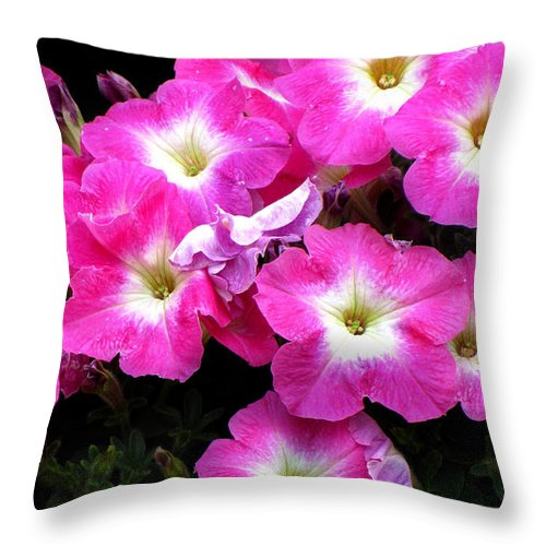 Petunias Throw Pillow featuring the photograph Pink Petunias by Ms Judi