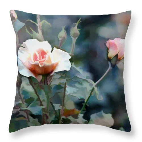 Flower Flowers Garden Rose Rose+bush Roses Pink Rose+bushes Flora Floral Nature Natural Throw Pillow featuring the painting Pink Rose Bush by Elaine Plesser