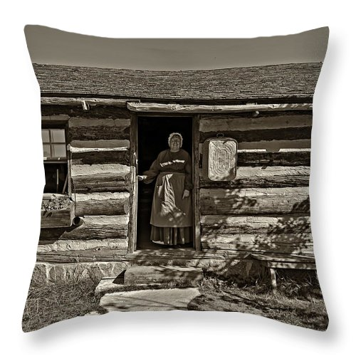 1800's Throw Pillow featuring the photograph Pioneer Greeting Monochrome by Steve Harrington