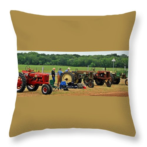 Antique Tractor Throw Pillow featuring the photograph Pit Row by Monica Wheelus