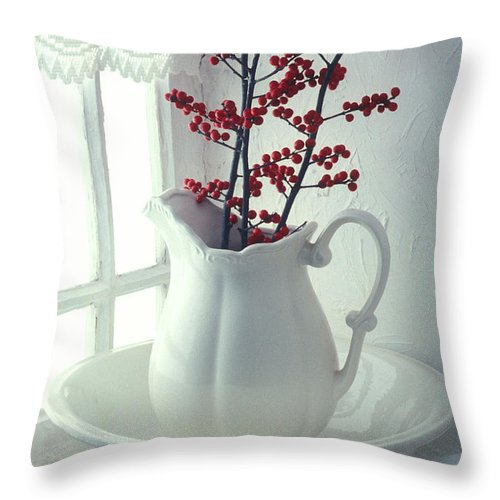 Christmas Throw Pillow featuring the photograph Pitcher With Red Berries by Garry Gay