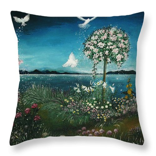 Nature Throw Pillow featuring the painting Places In The Heart by Milenka Delic