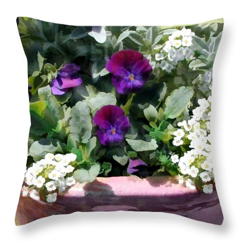 Flower Flowers Pansy Planter Alyssum Garden Flora Floral Nature Natural Pansies Planters Pot Purple White Throw Pillow featuring the painting Planter Of Purple Pansies And White Alyssum by Elaine Plesser