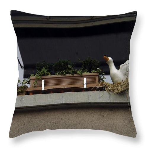 Animal Throw Pillow featuring the photograph Plants And Animal Figures In The Balcony Of A Building In Lucern by Ashish Agarwal