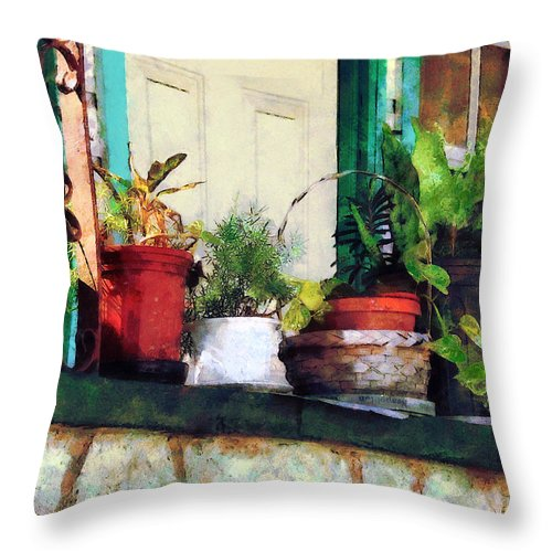 Plant Throw Pillow featuring the photograph Plants On Porch by Susan Savad
