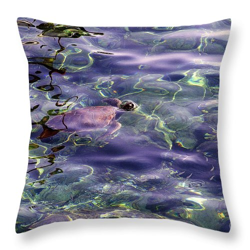 Sea Turtle Throw Pillow featuring the photograph playing at Crete by Casper Cammeraat