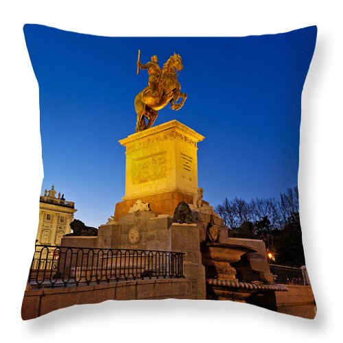 Felipe Iv Throw Pillow featuring the photograph Plaza De Oriente by John Greim