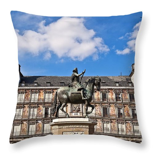 Europe Throw Pillow featuring the photograph Plaza Mayor by John Greim