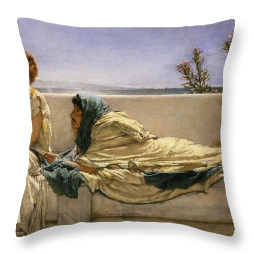 Pleading Throw Pillow featuring the painting Pleading by Sir Lawrence Alma-Tadema