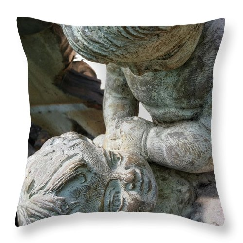 Statue Throw Pillow featuring the photograph Please by Donna Blackhall