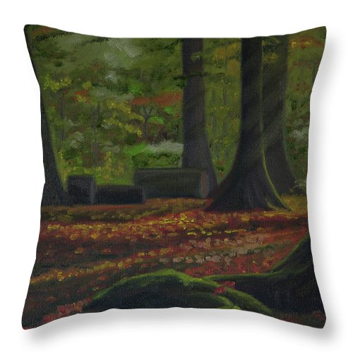 Plein Air Throw Pillow featuring the painting Plein Air 101 by Thu Nguyen