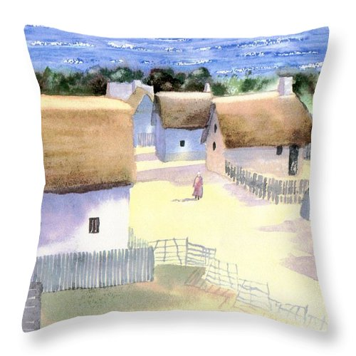 Plimoth Throw Pillow featuring the painting Plimoth Plantation by Joseph Gallant