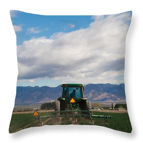Agriculture Throw Pillow featuring the photograph Plowing Field by Sean Wray