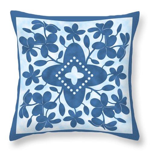 Plumeria Throw Pillow featuring the digital art Plumeria Hawaiian Quilt Block by Alison Stein