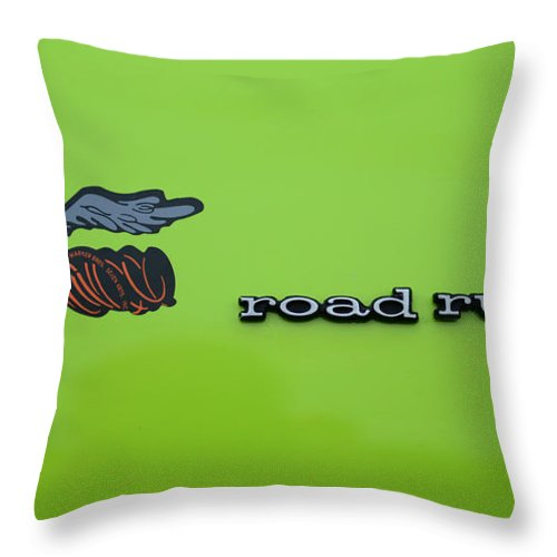 Plymoouth Road Runner In Lime Green Throw Pillow featuring the photograph Plymoouth Road Runner In Lime Green by Paul Ward