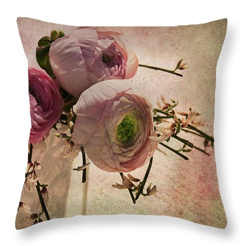 Ranunculus Throw Pillow featuring the photograph Poeme De Printemps by Claudia Moeckel