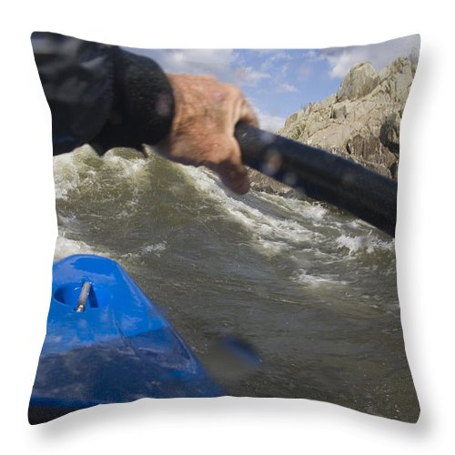Color Image Throw Pillow featuring the photograph Point Of View White Water Kayaking by Skip Brown