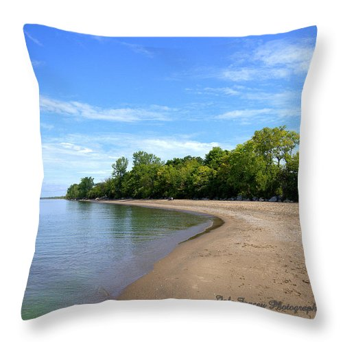 Photography Throw Pillow featuring the photograph Point Pelee Beach by Jale Fancey