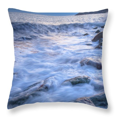 Beach Throw Pillow featuring the photograph Point Shirley Surf by Susan Cole Kelly