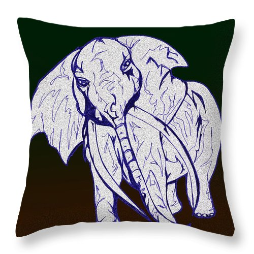 Abstract Throw Pillow featuring the drawing Pointillism Elephant by Mary Mikawoz