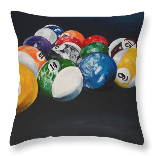 Pool Balls Throw Pillow featuring the painting Pool Balls by Travis Day