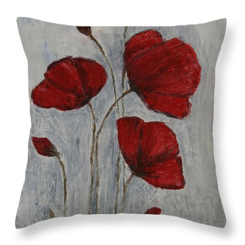 Poppy Throw Pillow featuring the painting Poppies by JG Keevil