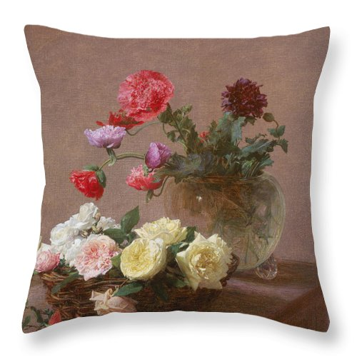 Poppies Throw Pillow featuring the painting Poppies In A Crystal Vase - Or Basket Of Roses by Ignace Henri Jean Fantin-Latour