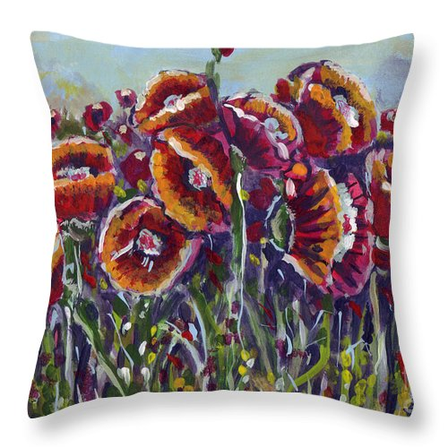 Poppies Throw Pillow featuring the painting Poppies In My Field by Dinah Anaya