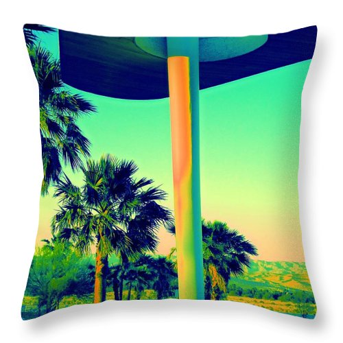 Porte Cochere Throw Pillow featuring the photograph Porte Cochere Palm Springs by Randall Weidner