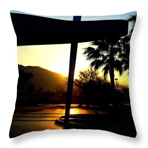 Porte Cochere Throw Pillow featuring the photograph Porte Cochere Sunset by Randall Weidner