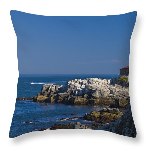 Lighthouse Throw Pillow featuring the photograph Portland Head Light 1 by Tim Mulina