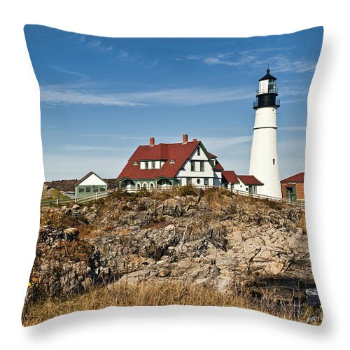 Cape Elizabeth Throw Pillow featuring the photograph Portland Head Lighthouse by John Greim
