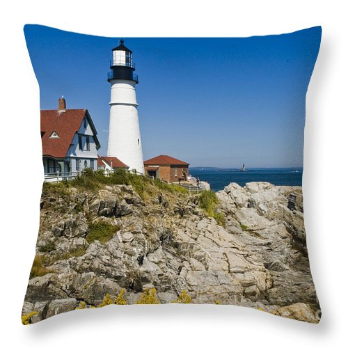 Lighthouse Throw Pillow featuring the photograph Portland Head Lighthouse by Tim Mulina