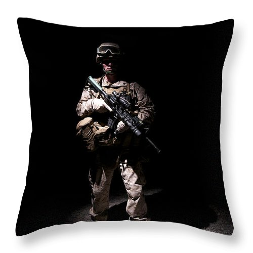 Afghanistan Throw Pillow featuring the photograph Portrait Of A U.s. Marine In Uniform by Terry Moore