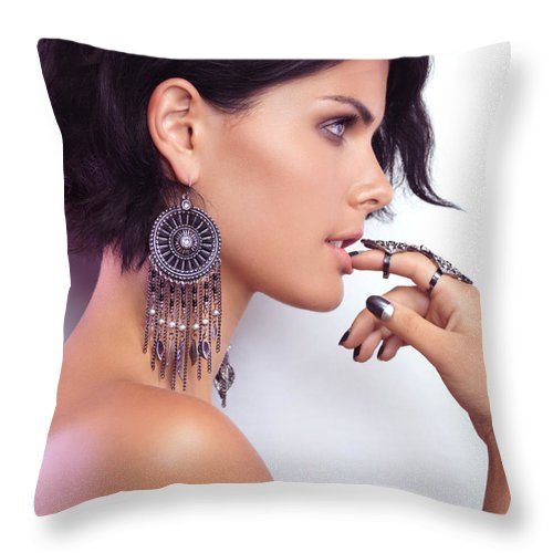 Beauty Throw Pillow featuring the photograph Portrait Of A Woman Wearing Jewellery by Oleksiy Maksymenko