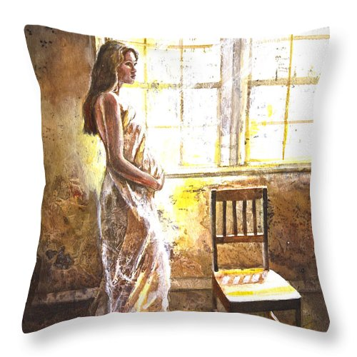 Pallinghamcarlson Throw Pillow featuring the painting Portrait Of A Young Woman by Patricia Allingham Carlson