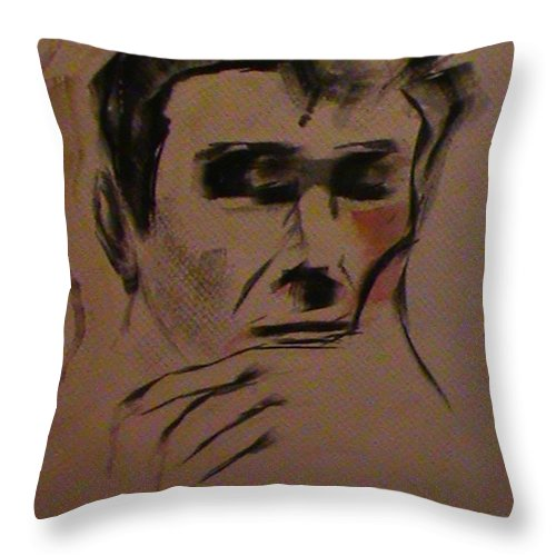 Portrait Throw Pillow featuring the painting Portrait Of Frank Frazetta by George Pedro