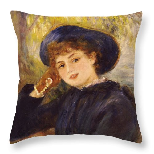 Impressionist; Impressionism; Female; Half Length; Portrait Throw Pillow featuring the painting Portrait Of Mademoiselle Demarsy by Pierre Auguste Renoir